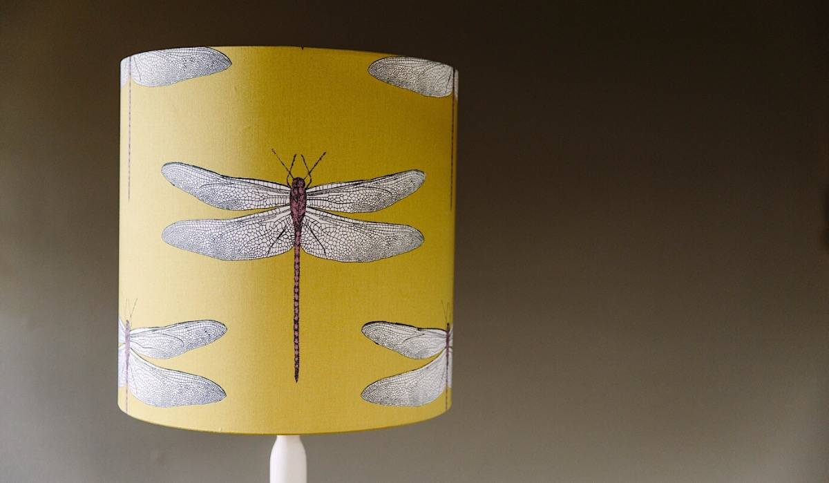 Bespoke oversized drum shade  in Demoiselle Chartreuse by Harlequin