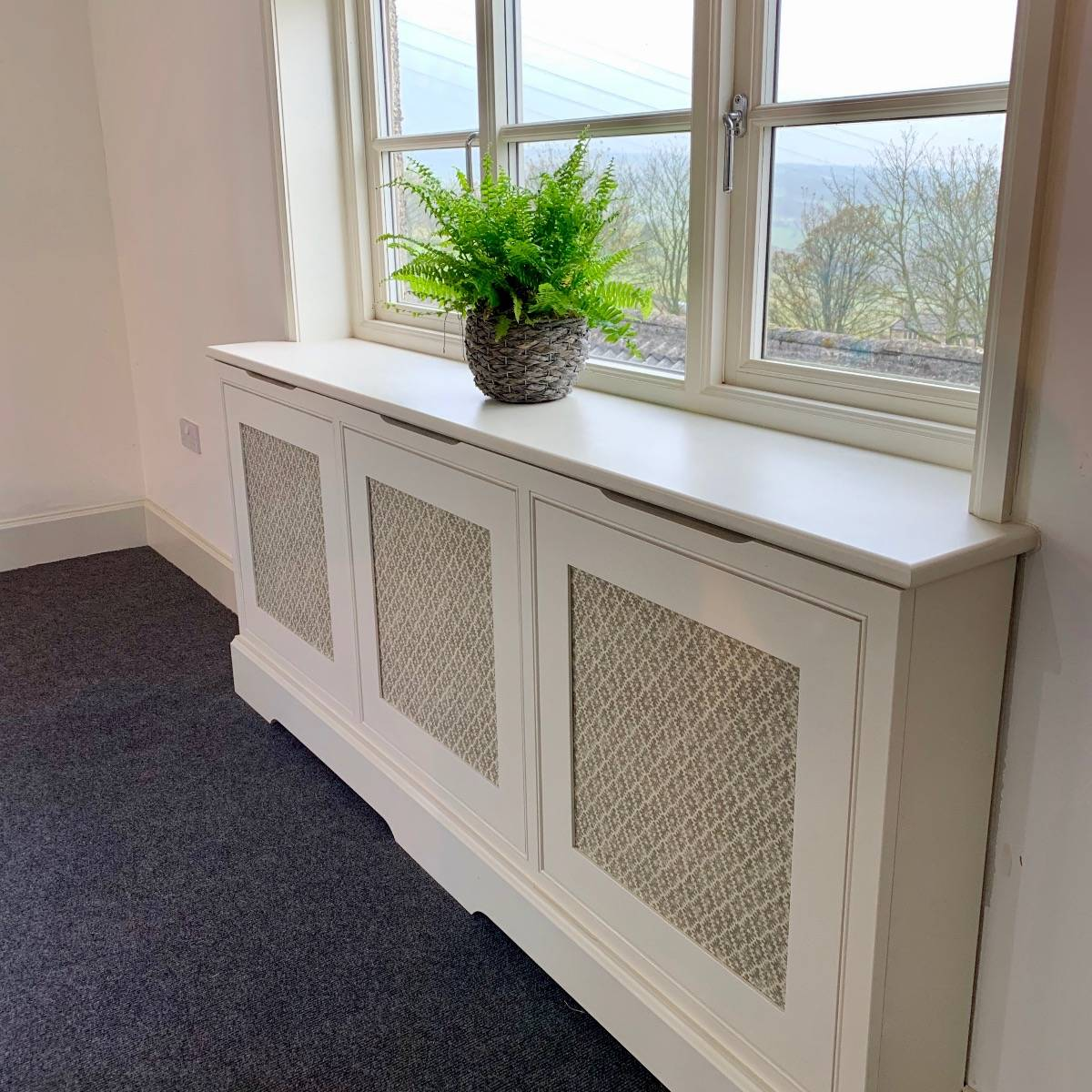 Bespoke radiator cover with fabric insert